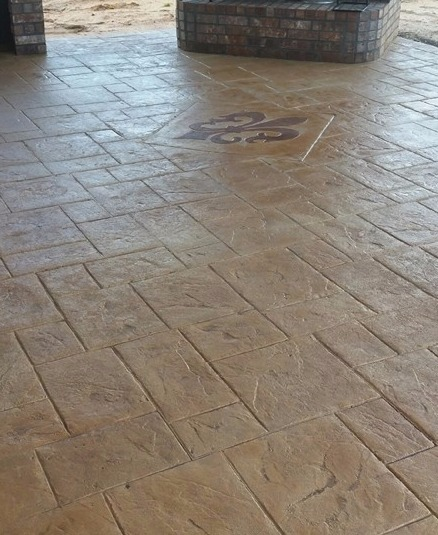 Stamped decorative concrete on residential patio in Shreveport, LA.